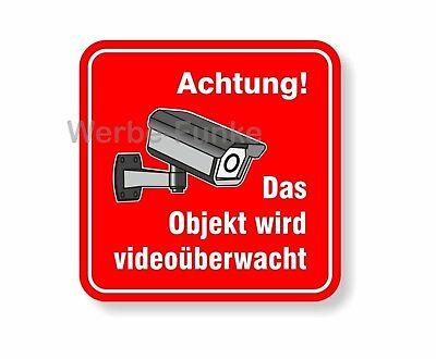 """1 Aufkleber """" Das Objekt wird videoüberwacht """" 100 x 100 mm, Kameraüberwachung"""