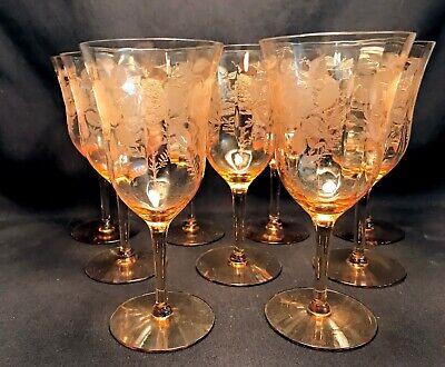 Morgantown 7577 Venus American Beauty etch Rare Color Peach (9) sold (Peach Colored Glasses)