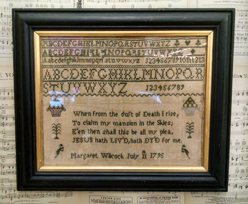 Needlework Sampler Margaret Wilcock Letters Figures Antique 1795 18th Century
