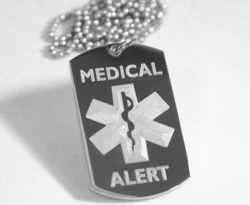 MEDICAL ALERT SILVER  STAINLESS STEEL  DOG TAG NECKLACE FREE  ENGRAVING