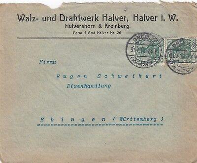 HALVER, Briefumschlag 1916, Walz-Drahtwerk Halver Hulvershorn & Kreinberg