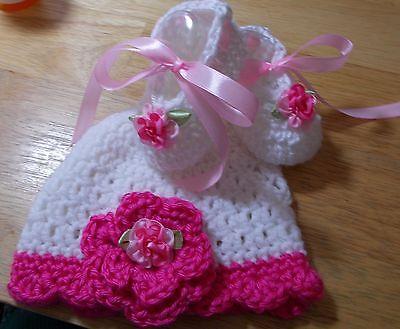SALE--Handmade Crochet Baby Girl Hat, Booties Set White & Raspberry  0- 3 Months