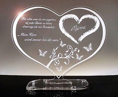 Zum Muttertag, Acrylglas Schild Herz, Geschenk, Gravur, Lasergravur