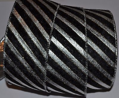 (Wired Ribbon~Silver Metallic Diagonal Stripe~Velvet Black~Holiday~2.5