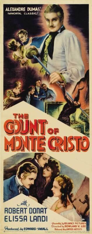 THE COUNT OF MONTE CRISTO Movie POSTER 22x28 Half Sheet Robert Donat Elissa