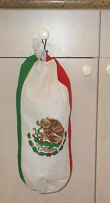 """FABRIC CLOTH GARBAGE BAG MEXICAN FLAG  HOLDER SHOPPING PLASTIC BAGS 19""""x 19"""" for sale  Shipping to India"""