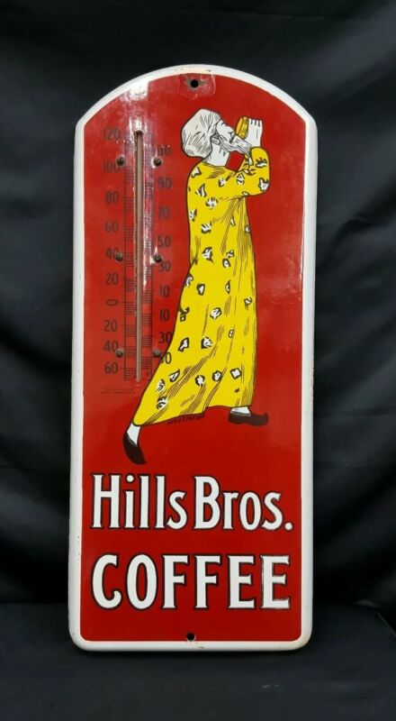 1915 Hills Brothers Coffee Porcelain Sign & Thermometer
