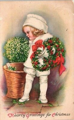 1920s Christmas Postcard Greeting Blonde Victorian Girl White Outfit Wreaths