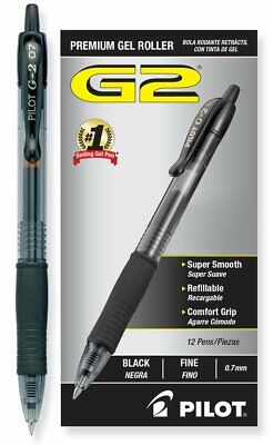 Pilot G2 Retractable Premium Gel Ink Roller Ball Pens Fine Pt Dozen Box Black