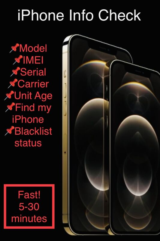 PRO IPHONE INFO CHECK FAST IMEI/MODEL/CARRIER/FIND MY IPHONE/BLACKLIST STATUS