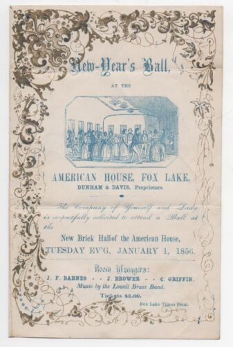 Beautiful 1856 Invitation to a  New Year