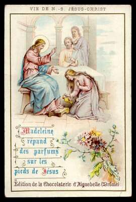 - ST MAGDALENE ANOINTING JESUS FEET Old AIGUEBELLE HOLY CARD