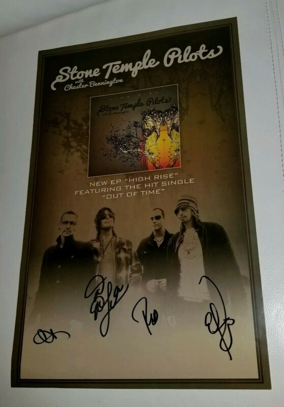 Stone Temple Pilots Chester Bennington Signed Autograph poster Rare