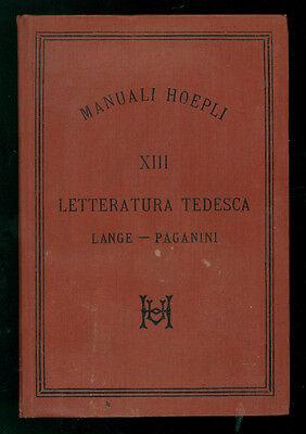 LANGE OTTO PAGANINI ANDREA LETTERATURA TEDESCA MANUALI HOEPLI XIII 1885