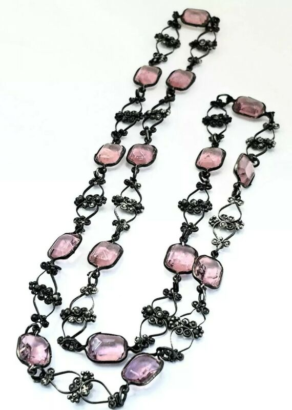 Edwardian Purple Glass Bezel Set Open Back Wired Filigree Long Necklace
