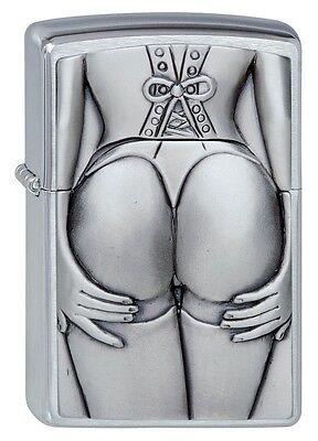 Zippo Stocking Girl Windproof Lighter - Brushed Chrome - 1300116