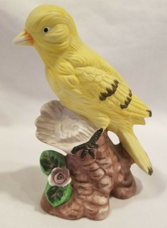 "Vintage Yellow Canary Bird on Stump with Flower Figurine 6"" x 4"" Ceramic"
