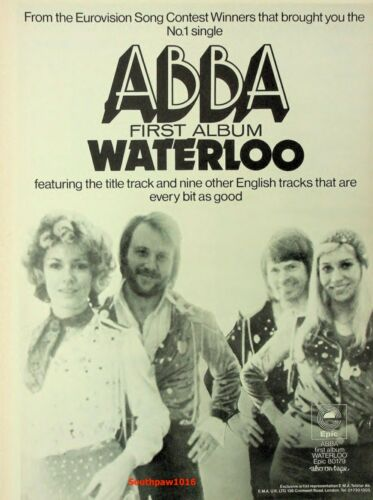 "Classic 1974 Abba ""Waterloo"" Album  Release Music Industry  Promo Ad Reprint"