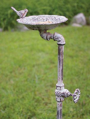 Unique Garden Stake Bird Feeder Made of Cast Iron Ornamental Pipe and Valve