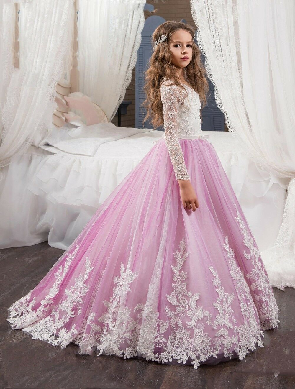 Flower Girl Dress Boat Neck Princess Prom Dress Blue Lace Floor ...