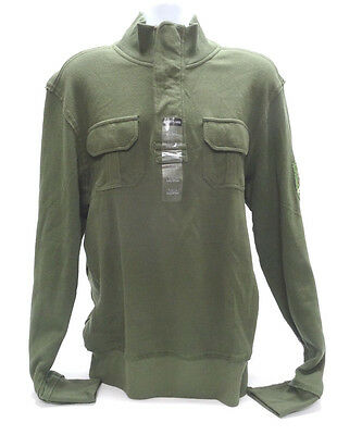 Ditch Plains Mens Large 1 4 Button Henley In Olive Green   Nwt