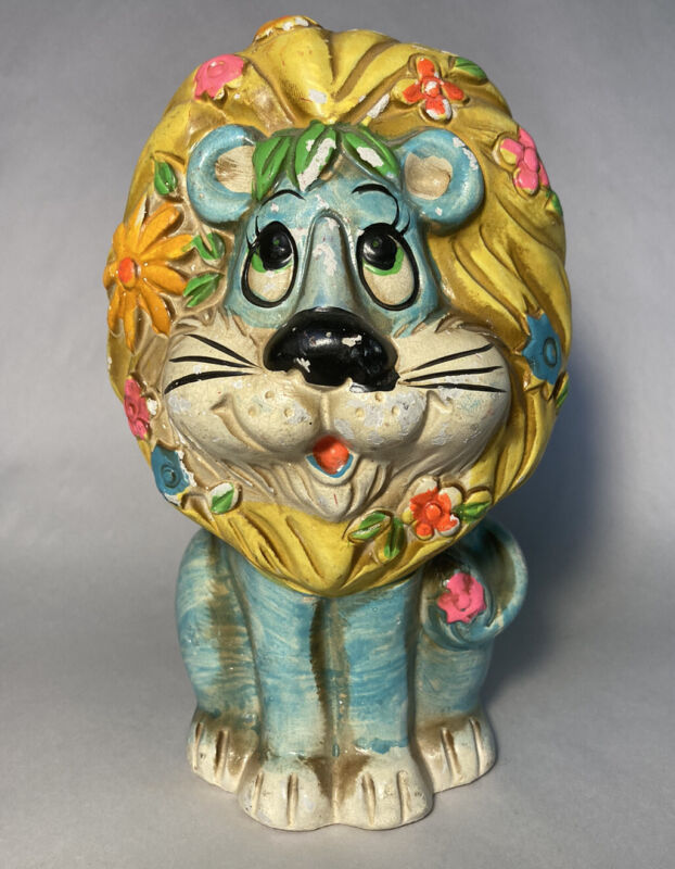 Vintage 1970s Japan Chalkware Blue Lion Piggy Bank Flowers Colorful