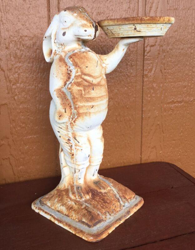 Cast Iron Bunny Rabbit Garden Decor Antique Vintage Candle Holder RARE Unique