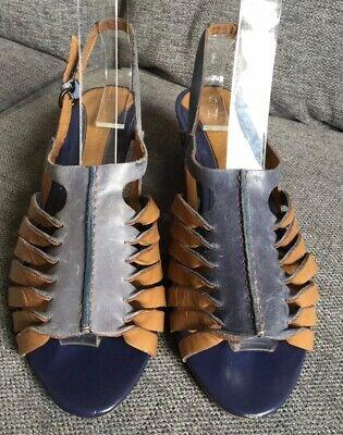 Clarks Ladies Sandals 6 39 Blue Leather Mid Heel Slingbacks Casual Smart Summer  Mid-heel-slingbacks