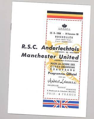 RSC Anderlecht v Manchester United 1956 PROGRAMME - POSTFREE to UK