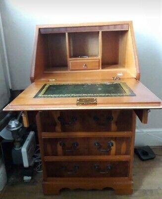 Vintage Georgian Style Yew Veneer Wood Tallboy Writing Desk Bureau *stunning*