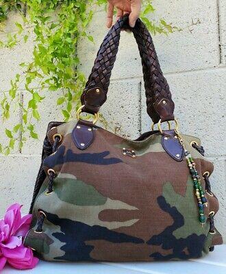 "Rare Michael Kors CAMO Handbag Purse ""Woodside"" laced Satchel handbag canvas"