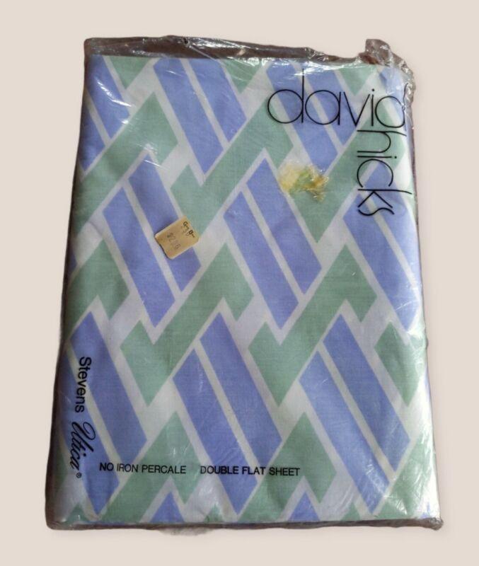 Vintage David Hicks Designs & Selections Stevens Utica Zed Double Flat Sheet