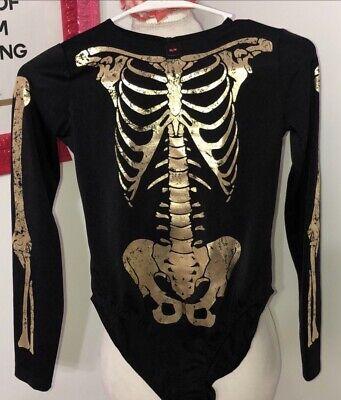 Gold Suit Halloween (La Senza Skeleton Body Suit Halloween  Black And Gold)