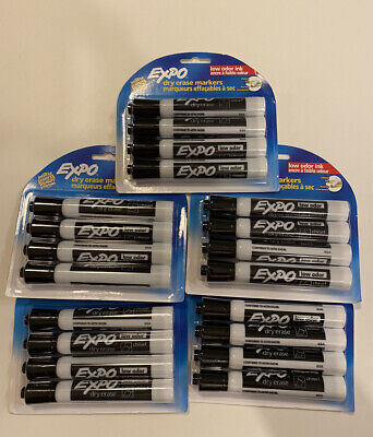 Lot Of 5 New Sealed 4 Packs Expo Dry Erase Markers Chisel Point Black 20 Total