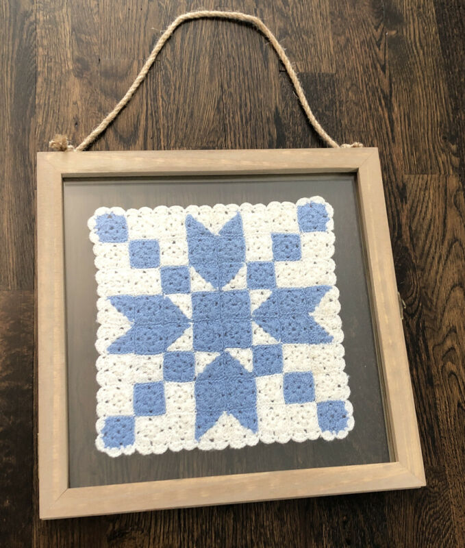 Beautiful Vintage crocheted quilt sqaure in floating hanging frame, slate blue