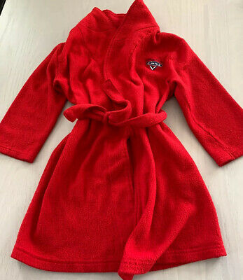 Disney  Pixar Cars Little Boys/toddler Cars Fleece Red Bath Robe Size 5T Disney Pixar Cars Fleece