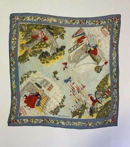"Vintage Periwinkle Sleeping Beauty Silk Scarf Walt Disney 22"" x 22"""