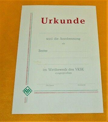 DDR - VKSK blanko Urkunde BESTER ............