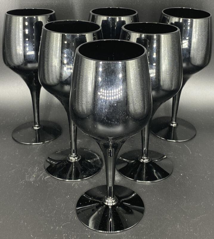 Vintage Black Amethyst Crystal Wine Stemware Set of 6- very elegant drinkware