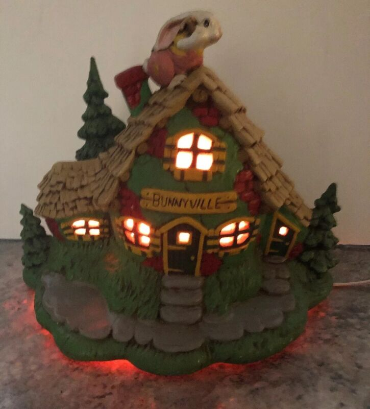 Vintage Hand Painted Ceramic Lighted Easter Bunnyville Bunny Rabbit House Tree
