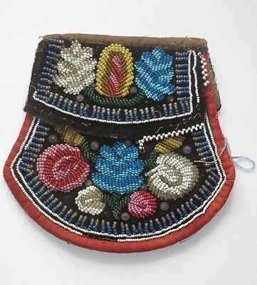 1860s Antique NATIVE AMERICAN INDIAN Bead Work Purse IROQUOIS WOODLANDS  beaded