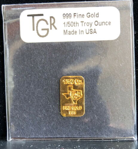 1/50th OUNCE .999 GOLD BARS--SMALL PURE GOLD BAR PRICED NEAR GOLD PRICE--T.G.R.