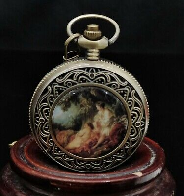 Chinese copper Handmade Exquisite Mechanics Pocket Watch 13267