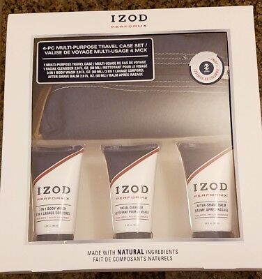 Izod Performx 4 Pc Travel Set, Case, Facial Cleaner, Body Wash, After Shave Balm