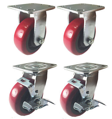 4 Heavy Duty Caster Set 4 5 6 Polyurethane Wheels No Mark Non Skid Brake