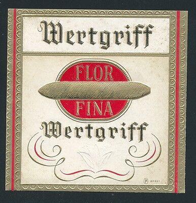 74697) Tabak, Zigarren Kisten Etikett Wertgriff FLOR FINA