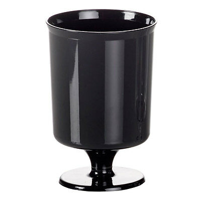 240 x Small Black Plastic Wineglasses 5.6oz (Disposable Party) [5055202123281]
