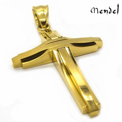 Mens Gold Cross Necklace Pendant For Men Stainless Steel Christian Gifts Chain