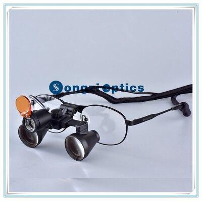 3.5x Titanium Frame Binocular Dental Surgical Loupes With A Yellow Filter Light