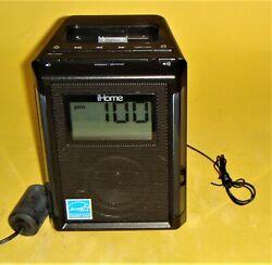 iHOME IP40 iPod iPhone AM/FM Radio Alarm Clock Speaker Dock Black Energy Star